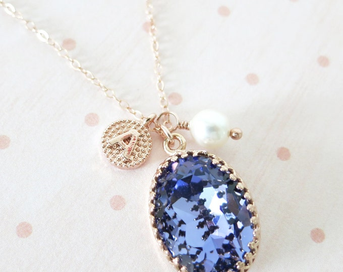Personalised Tanzanite Purple Oval Crystal rose gold letter necklace, Swarovski vintage style bridesmaid necklace