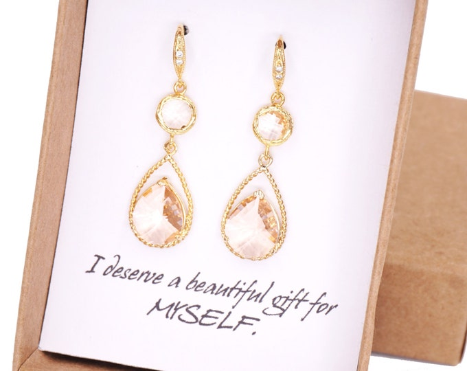 Mabel - Champagne Glass Teardrop Earrings Gold, gifts for her, wedding, Champagne Bridal Bridesmaid necklaces, Gold Bridesmaids