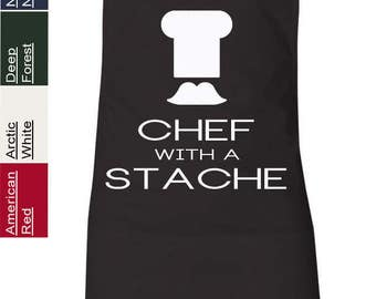 CHEF with a Stache Mustache Grilling Apron Funny Humor Featherlite 6013 Cooking Apron
