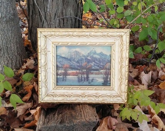FW Woolworth's Co. Snowy Winter Mountains Picture in Wood Gesso Style Frame with Original Price Tag