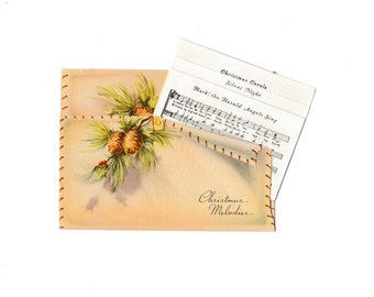 Christmas Card with Carols Song Sheet Vintage 1950's Greeting with Envelope An Artistic Card