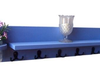 Coat Rack - Entry Way Shelf - Coat Hooks - Jar Vase - Painted Wood Shelf - Mail Holder
