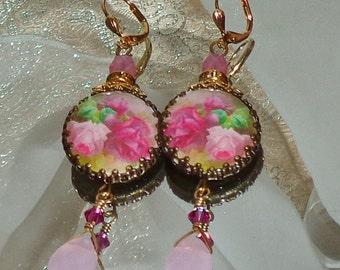 Vintage pink rose image bead charm cabochon earrings Sacred Jewelry Pamelia Designs