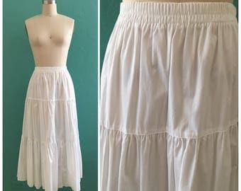 80's white cotton tiered skirt // summer midi ~ small medium