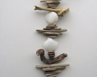 Driftwood Mobile With White Shells-DC1203