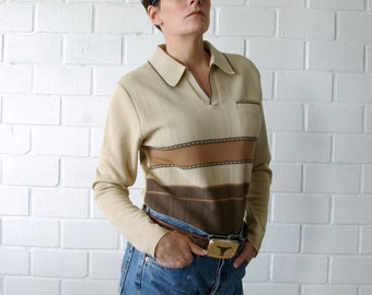 taupe stripe 60s polyester mens sweater - 1211258