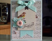 """Handmade Thank You Card - 4 1/4"""" x 5 1/2"""" - Floral Themed - Music Notes, Bird Tag, Die-Cut Banner & Flower"""