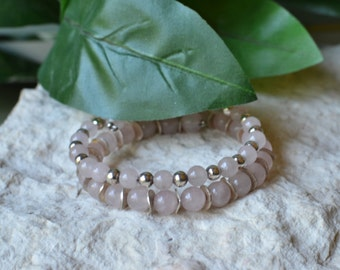 Rose Quartz Bracelet - Rose Quartz Wrap Bracelet - Rose Quartz Memory Bracelet - Rose Quartz Jewelry - Pink Stone Bracelet - Memory Bracelet