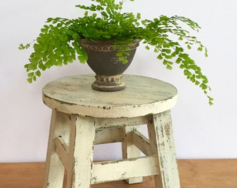 Chippy White Farmhouse Milking Stool Rustic Stool or Plant Stand Chippy and One of A Kind