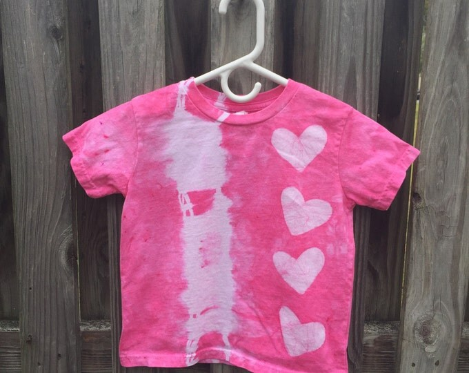 Valentines Day Shirt, Pink Hearts Shirt, Girls Tie Dye Shirt, Girls Valentines Day Shirt, Pink Girls Shirt, Batik Hearts Shirt (4/5)