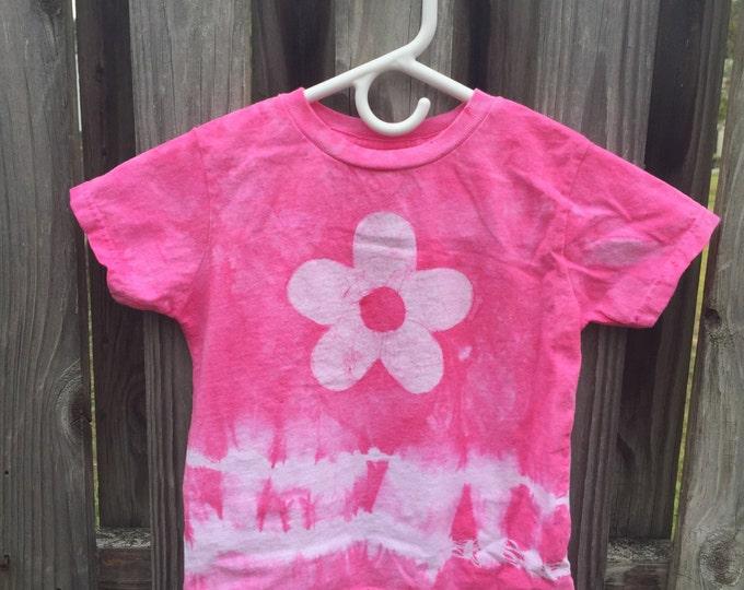 Pink Tie Dye Shirt, Girls Flower Shirt, Pink Flower Shirt, Batik and Tie Dye Shirt, Valentines Day Shirt, Flower Girls Shirt (4/5)
