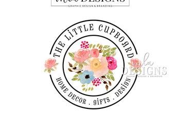 Round Watercolor Logo, Watercolor Logo, Flower Logo, Custom Logos, Circle Logo, Florist Logo, Business Logo, Boutique Branding