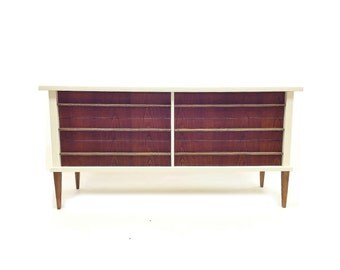 Vintage MCM Lowboy In White and Wood
