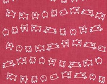 Japanese Tenugui Cotton Fabric, Kawaii Pig, Funny Animal Print Fabric, Hand Dyed Fabric, Home Decor Wall Tapestry, Cute Fashion Fabric, a72