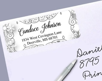 Return Address Labels, Winter Snowflakes, Silver or Gold, 30 Labels to the Sheet