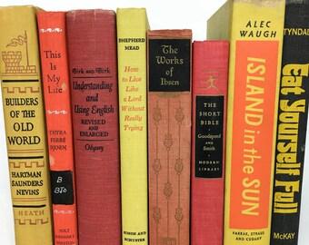 Vintage Set of 8 Books // Red Orange Yellow Books // Shelf Styling // Shelf Decor