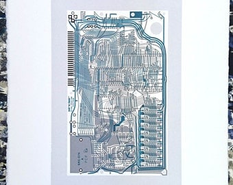 Sinclair ZX Spectrum Issue One screen print monochrome, blue art silkscreen circuit portrait retro computing