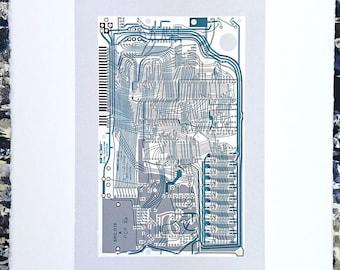 Sinclair ZX Spectrum Issue One screen print monochrome, blue art silkscreen circuit portrait retro computing
