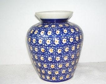 Boleslawiec  Jardiniere Vase Made in Poland, Blue and white Pottery Bowl, Hand Made in Poland, Polish Art Studio, Home Decor, Kitchen Decor