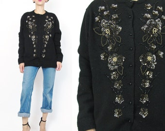 1980s Vintage Sequin Cardigan Black Wool Cardigan Lambswool Sweater Black and Gold Beaded Cardigan Glam Art Deco Fancy Evening Cardigan E75