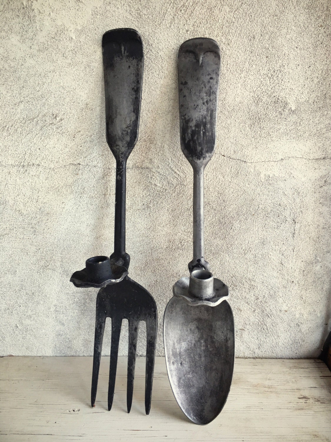 vintage oversized metal fork and spoon candle holder wall. Black Bedroom Furniture Sets. Home Design Ideas