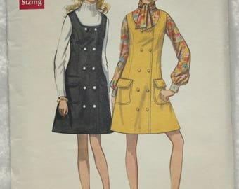 "Size 16 Bust 38""  Vintage Butterick  Sewing Pattern 5473  A-line Jumper with Mock Front Button Closing and Patch pockets"