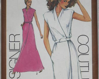 "Size 12, bust 34"" 1980 Vintage Simplicity  Sewing Pattern 9518  Cathy Hardwick Designer Mock Wrap Dress in two lengths"