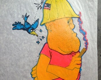 1970's Graphic TEE  Anti Union Cartoon Iron On Transfer right wing political humor DEADSTOCK 1980's Vortek