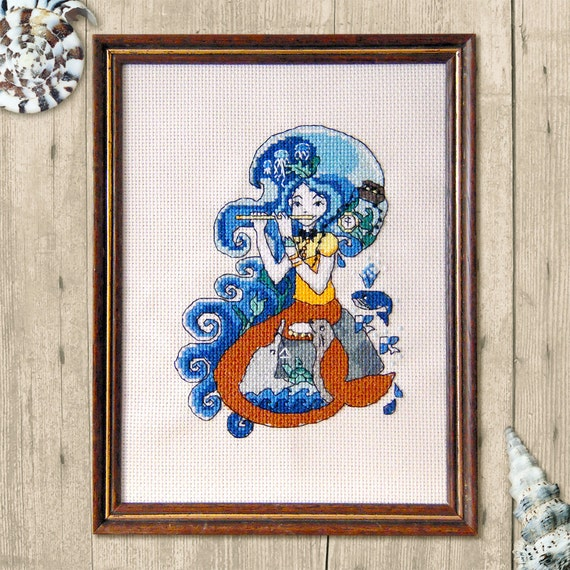Song of the Siren Mermaid Cross Stitch Pattern - Modern Cross Stitch Pattern - Cute Cross Stitch- Instant Download