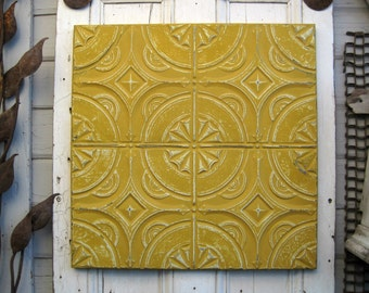 Vintage Ceiling Tin Tile. Framed Antique Architectural salvage. Gold Mustard yellow metal wall art