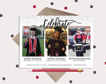 Graduation Invitations · Multiple Graduates  ·  Graduation Party Invitations · Celebrate 3 graduates at once!