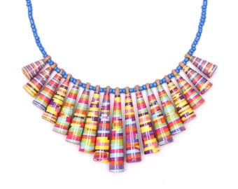 Candy stripes colorful necklace - Boho jewelry - Colorful jewelry - Boho necklace - Paper jewellery - Bohemian necklace - Bohemian jewellery
