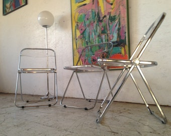 Giancarlo Piretti Set of 3 Plia Lucite Chrome Folding Dining Side Chairs Castelli , retro Mid Century Lucite Folding Chairs