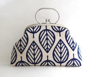 Frame Clutch Bag with Handle - Navy Blue Leaf