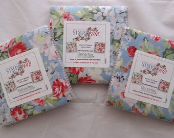 SIMPLY CHIC 3 Charm Packs RETRO red roses cherries Benartex sewing quilting fabric Anna Stuart 5 in squares