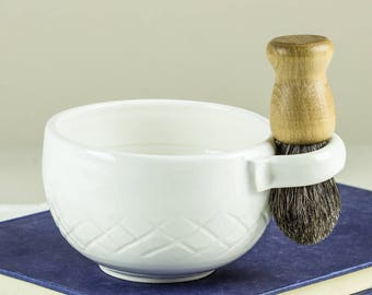 White Wet Shaving Mug, Ceramic Shave Cup, Handmade Pottery, Father Husband Gift, groomsmen gifts for men dad