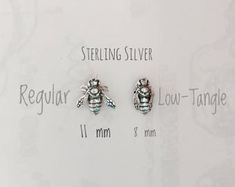 3D Bee in Silver Pick Your Hypoallergenic Post Earring or Pin. Perfect for Helix, Lobe, Cartilage, Labret Piercings.