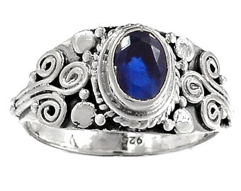 Blue Sapphire Ring Blue Sapphire Faceted Gem in Sterling Silver Ring WIth Bali Sterling Silverwork Size 8