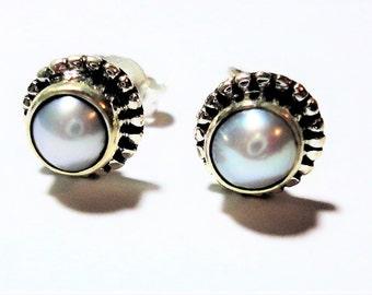Pearl Stud Earrings 5mm Cultured Genuine FW Pearls Set in 8mm Diameter Pearl Stud Earrings Bezel Set Pearls in Bali Style Sterling Studs