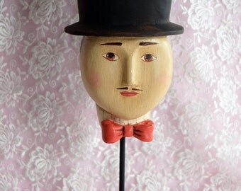 Vintage HEAD Face Top HAT STAND Gentleman Man Black Red Bow Tie Metal Base Hand Painted Hp Figural Victorian Folk Art Roaring 20s Flapper