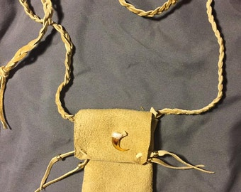 Native American Medicine bag Bobcat claw cherokee leather possibles  pow wow