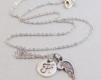 Angel Wing Necklace,Angel,Angel Necklace,Angel Wing Jewelry,Personalized Necklace,Custom Necklace,Monogram,Initial Necklace,Silver Necklace