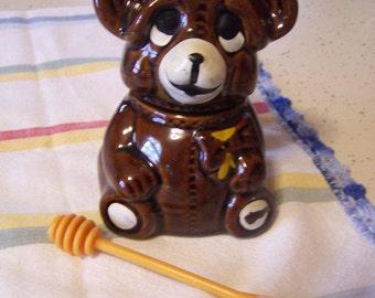 Cute Vintage Ceramic Honey Bear with Dipper, Brown, Honey Pot, Honey Jar, 1980s, Houston Foods