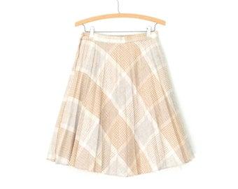 Wool 70s Skirt * Vintage 1970s Skirt * Flared Bias Plaid Skirt * Small