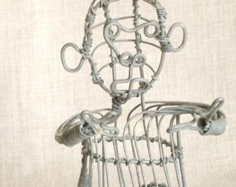 Vintage Monkey, Wire Art, Metal Monkey, Animal, Jungle Animal, Seated, Metal Art, Ape, Handmade, Monkee, Wire Sculpture, Monkies, Galvanized