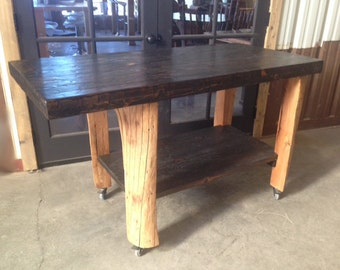 Bar Cart Live Edge Long Table Island