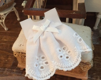 Miniature White Eyelet Dress, Dollhouse Miniature, Dollhouse Accessory, Decoration, Miniature Clothing