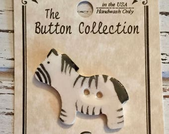 Ceramic Zebra Button, Mill Hill Button, 2 Hole, Sewing, Crafting, Cross Stitch, Needle Arts, Novelty Button, Embellishment