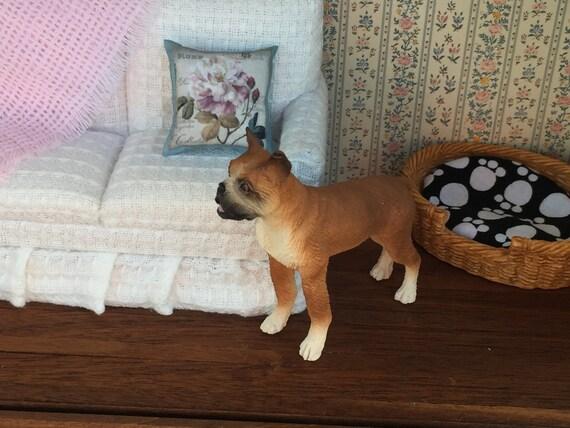 Boxer Figurine, Miniature Male Standing Boxer Dog, Dollhouse Miniature, 1:12 Scale Miniature Dog