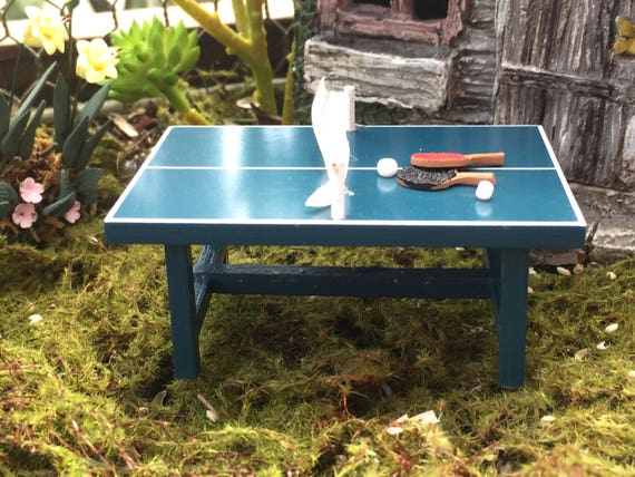 Miniature Ping Pong Table With Mallets and Balls, Dollhouse Miniature, Fairy Garden, Miniature Yard & Garden Decor, Topper